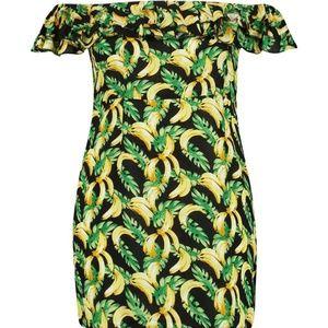 Plus Banana Print Off Shoulder Ruffle Dress
